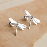 Sterling Silver Polished Dragonfly Stud Earrings