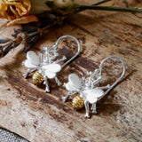 Sterling Silver and Gold Busy Bee Earrings