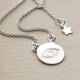 Sterling Silver Engraved Evil Eye Necklace