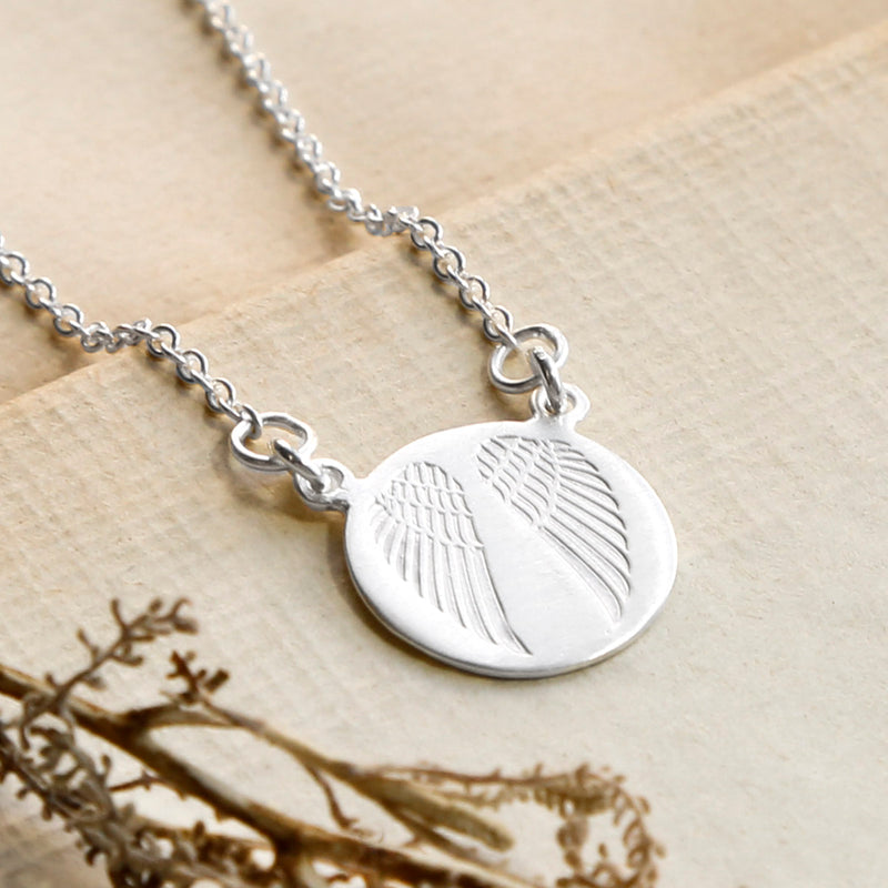 Sterling Silver Engraved Angel Wings Necklace