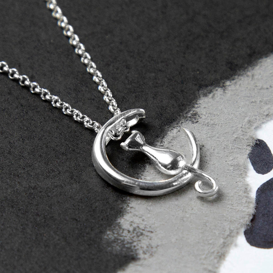 Sterling Silver Cat And Moon Necklace