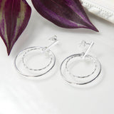 Sterling Silver Twin Ring Stud Earrings