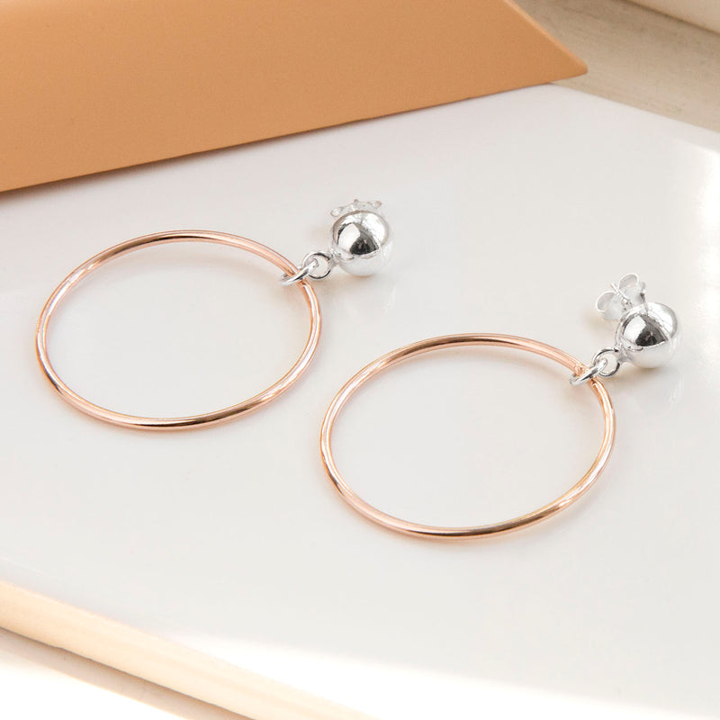 Silver And Rose Gold Plated Circle Stud Earrings