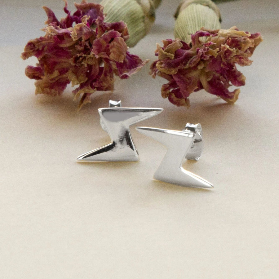 Sterling Silver Lightening Stud Earrings