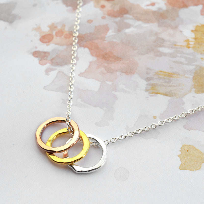 Sterling Silver Eternity Circles Necklace