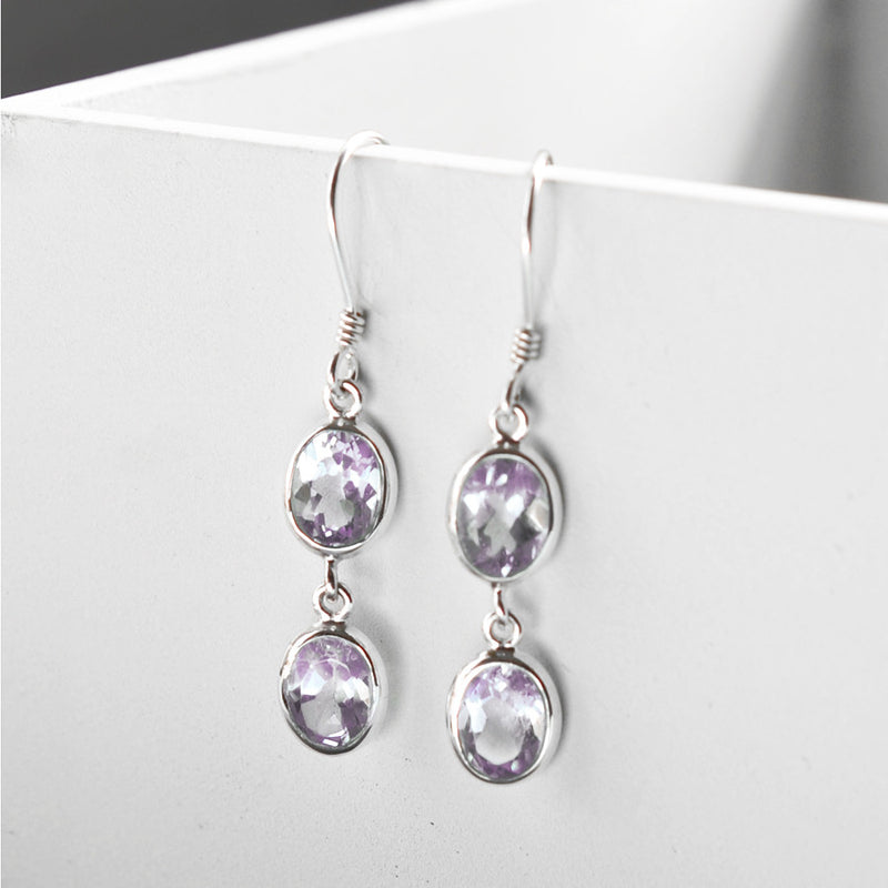 Sterling Silver Double Amethyst Oval Earrings
