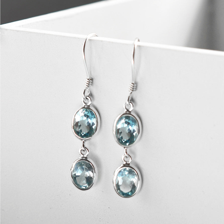 Silver Or Gold Double Blue Topaz Oval Earrings