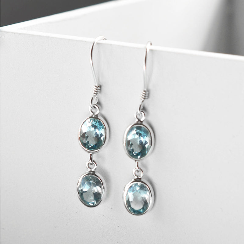 Sterling Silver Double Blue Topaz Oval Earrings