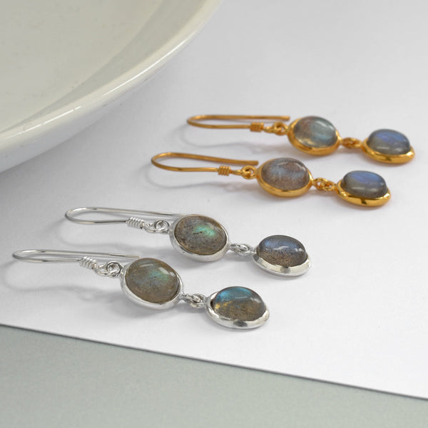 Silver Or Gold Double Labradorite Oval Earrings