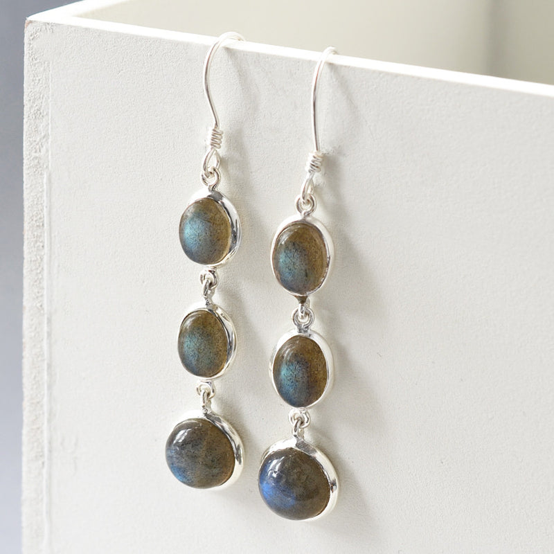 Sterling Silver Long Labradorite Earrings