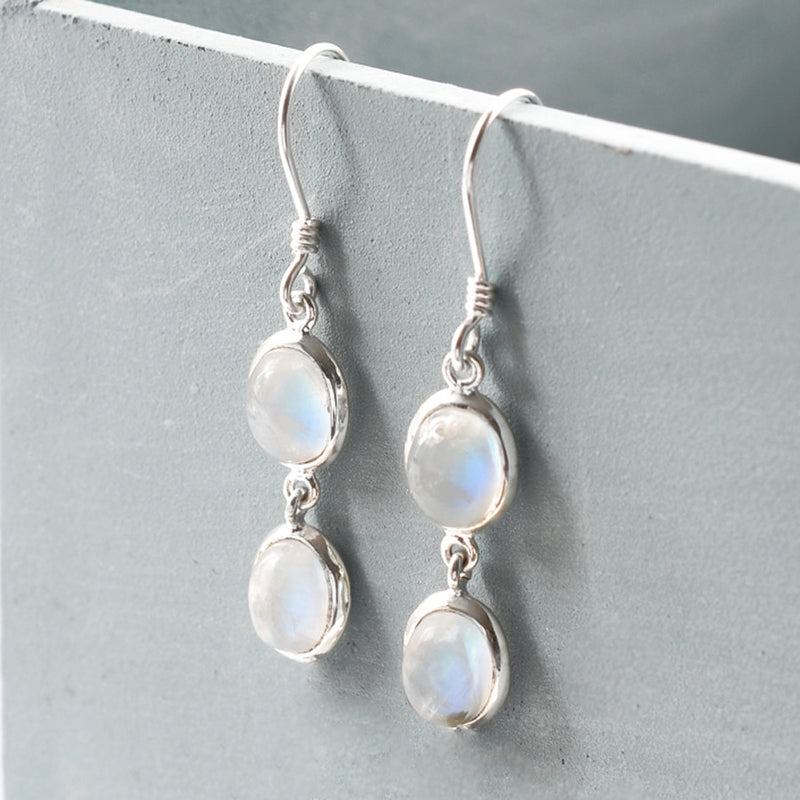 Silver Or Gold Double Moonstone Oval Earrings