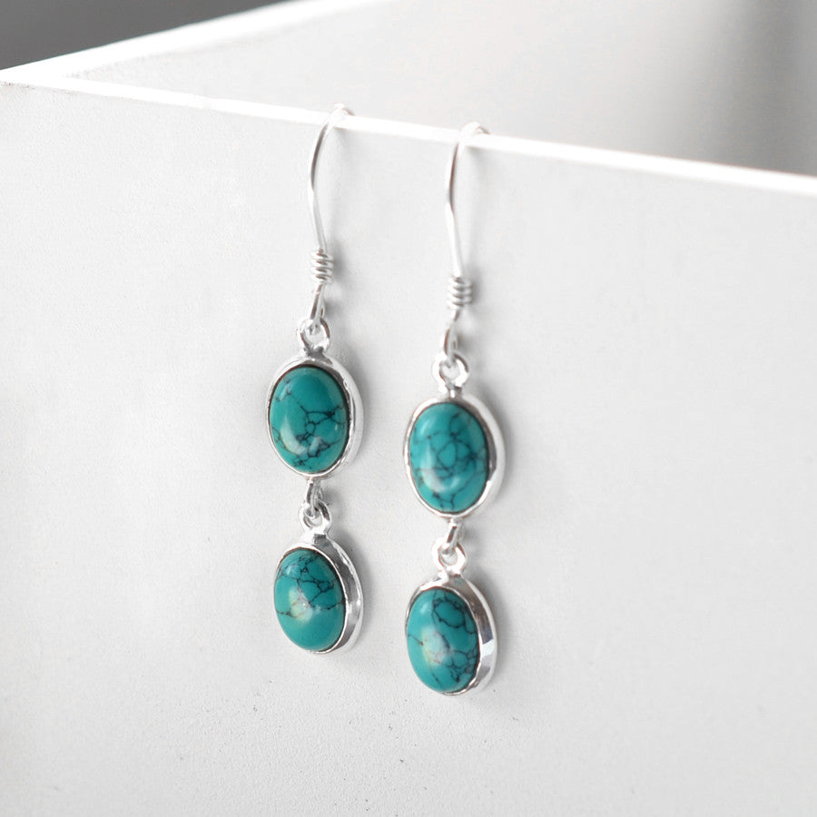 Sterling Silver Double Turquoise Oval Earrings