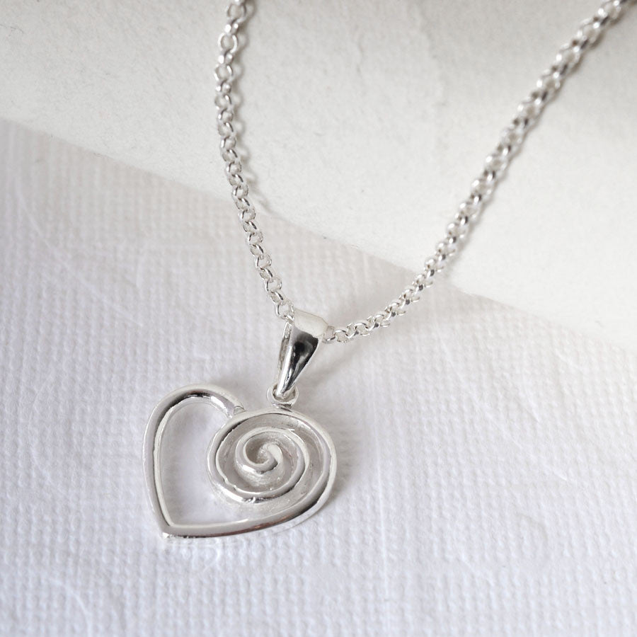 Silver Spiral Heart Necklace