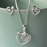 Sterling Silver Delicate Spiral Heart Necklace