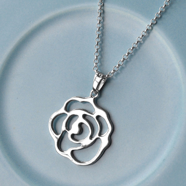 Silver Contemporary Rose Necklace