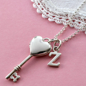 Key To My Heart Silver Locket