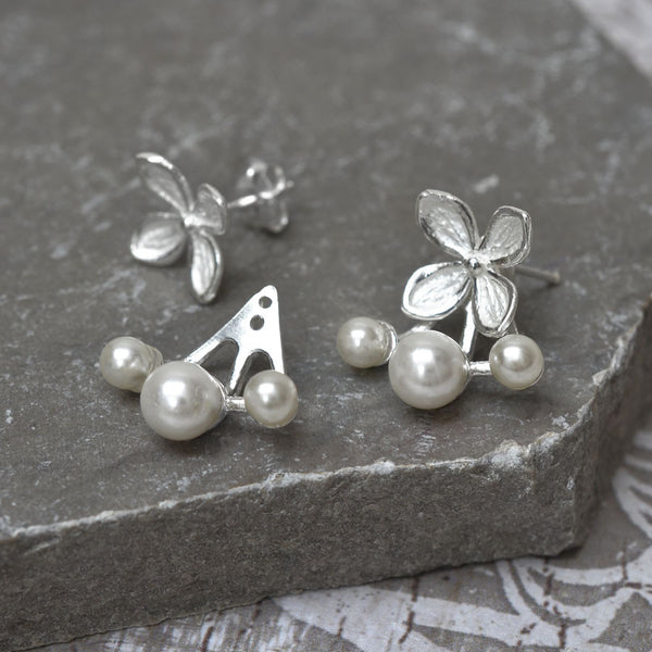 Sterling Silver and Pearl Flower 3 Pearl Two Way Stud Earrings