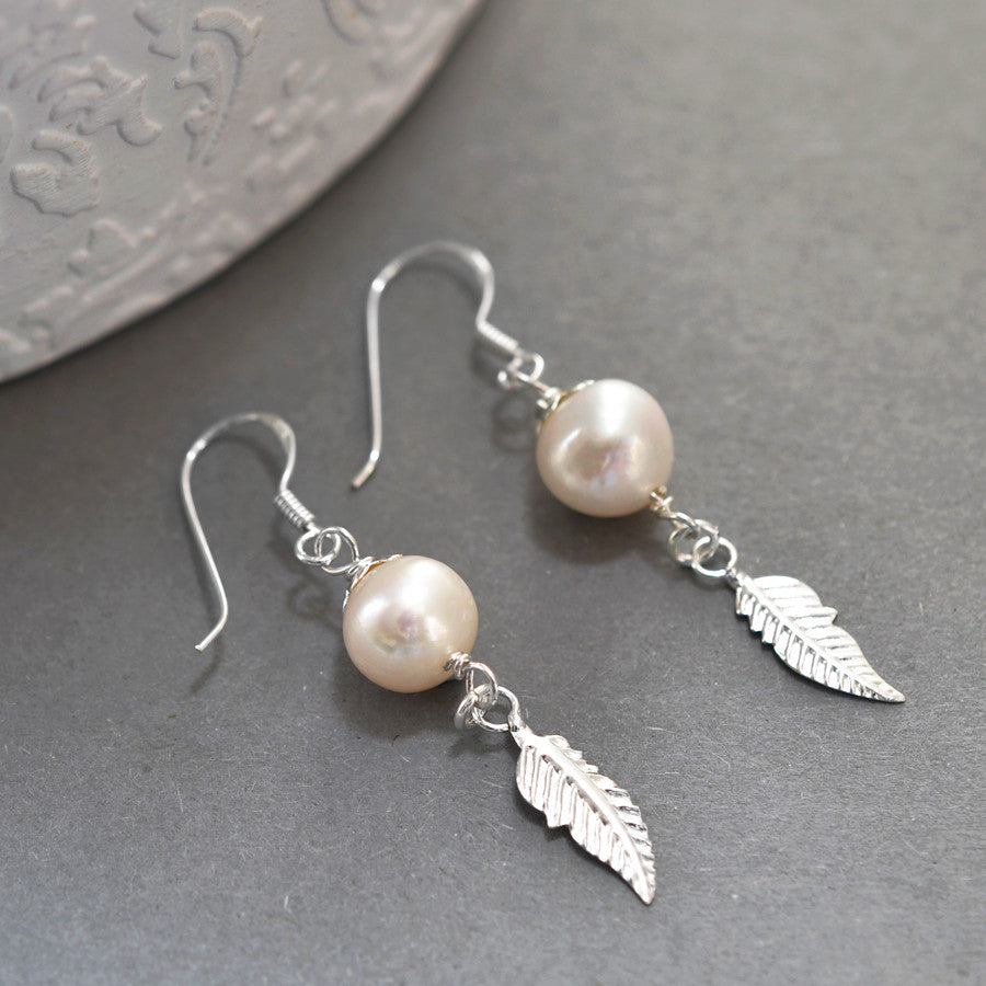 Silver Pearl And Feather Earrings