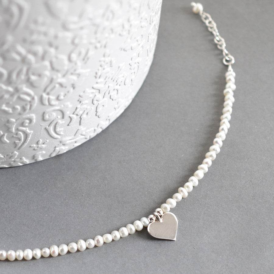 Silver And Pearl Heart Bracelet