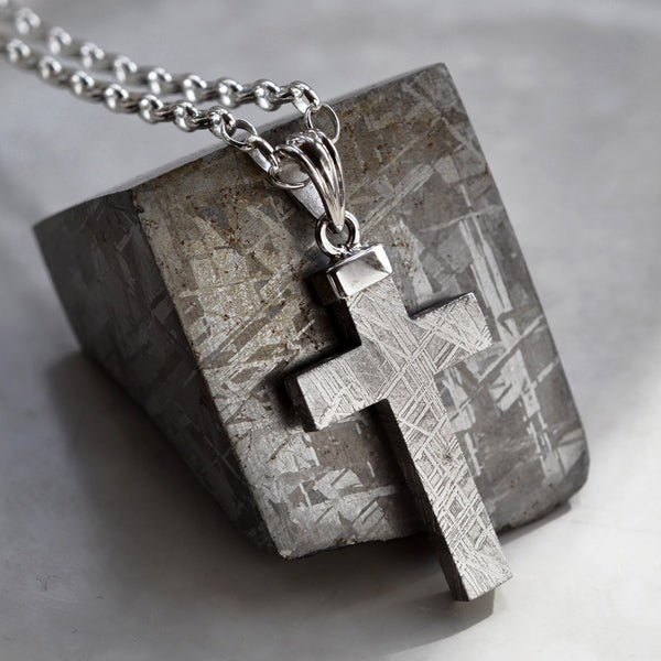 Meteorite and Silver Cross Necklace by Martha Jackson