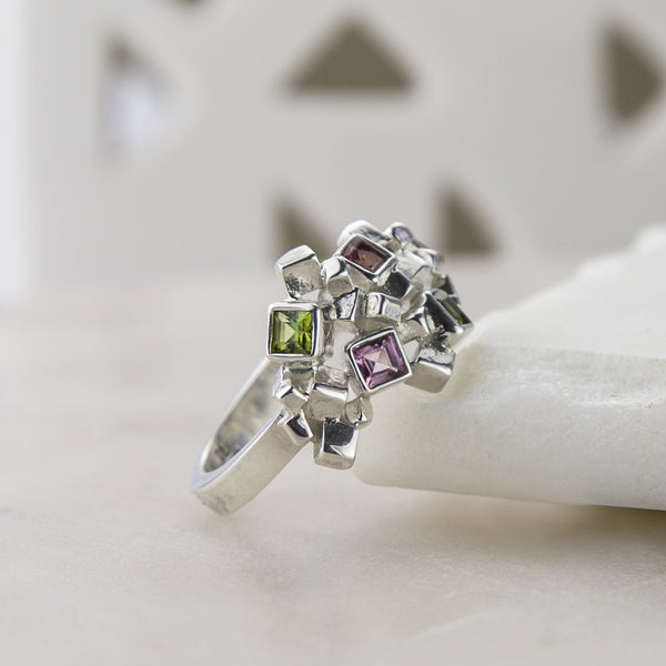 Sterling Silver And Tourmaline Ring