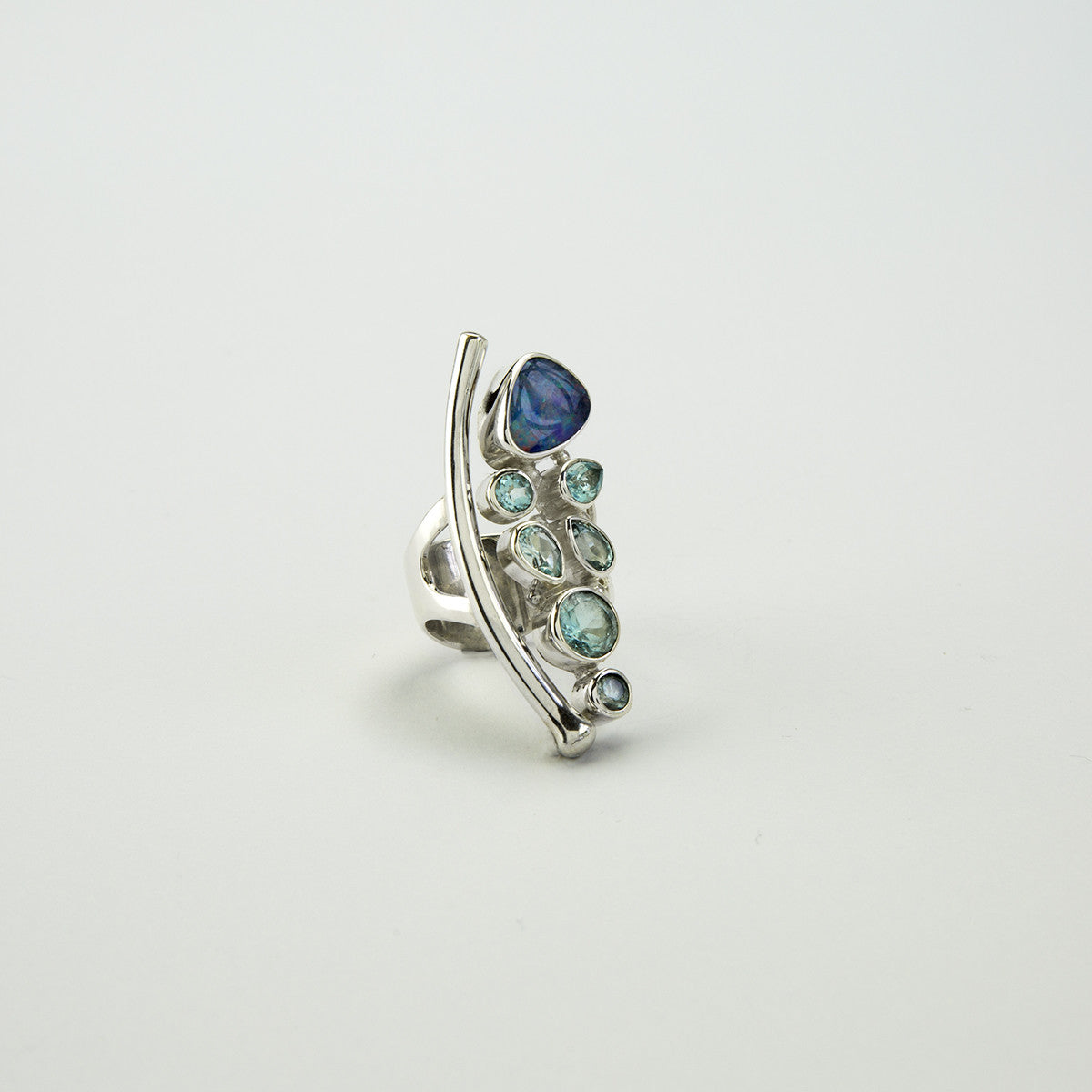Sterling Silver Opal And Blue Topaz Ring