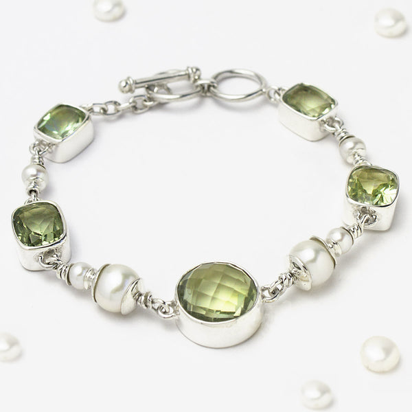 Sterling Silver Green Amethyst And Pearl Bracelet