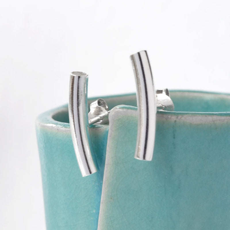 Sterling Silver Bar Stud Earrings by Martha Jackson