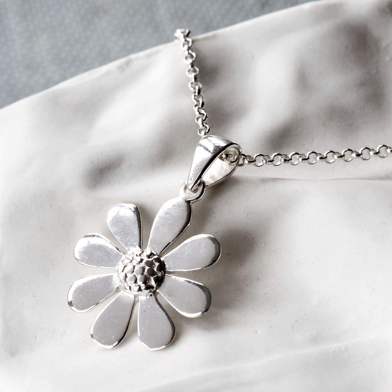 Sterling Silver Contemporary Daisy Necklace by Martha Jackson