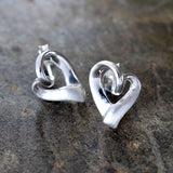 Silver Ribbon Heart Earrings
