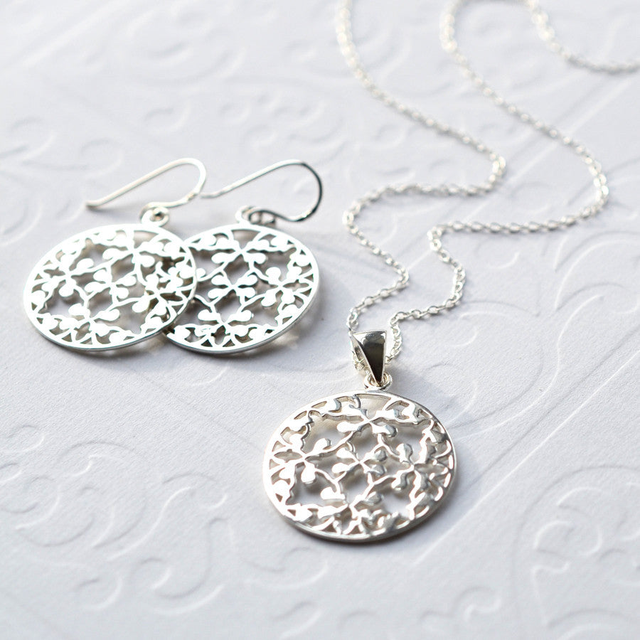 Silver Round Floral Jewellery Set by Martha Jackson