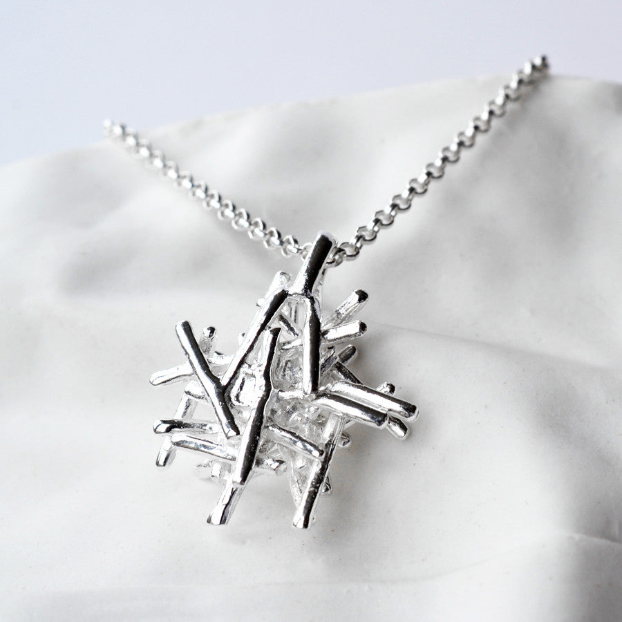 Silver Twig Stack Necklace by Martha Jackson