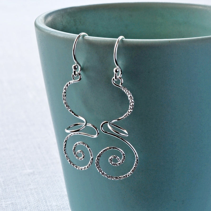 Sterling Silver Dangly Urban Free Form Earrings