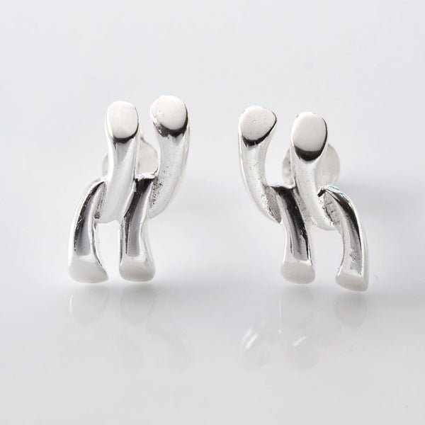 Silver Urban Link Earrings by Martha Jackson