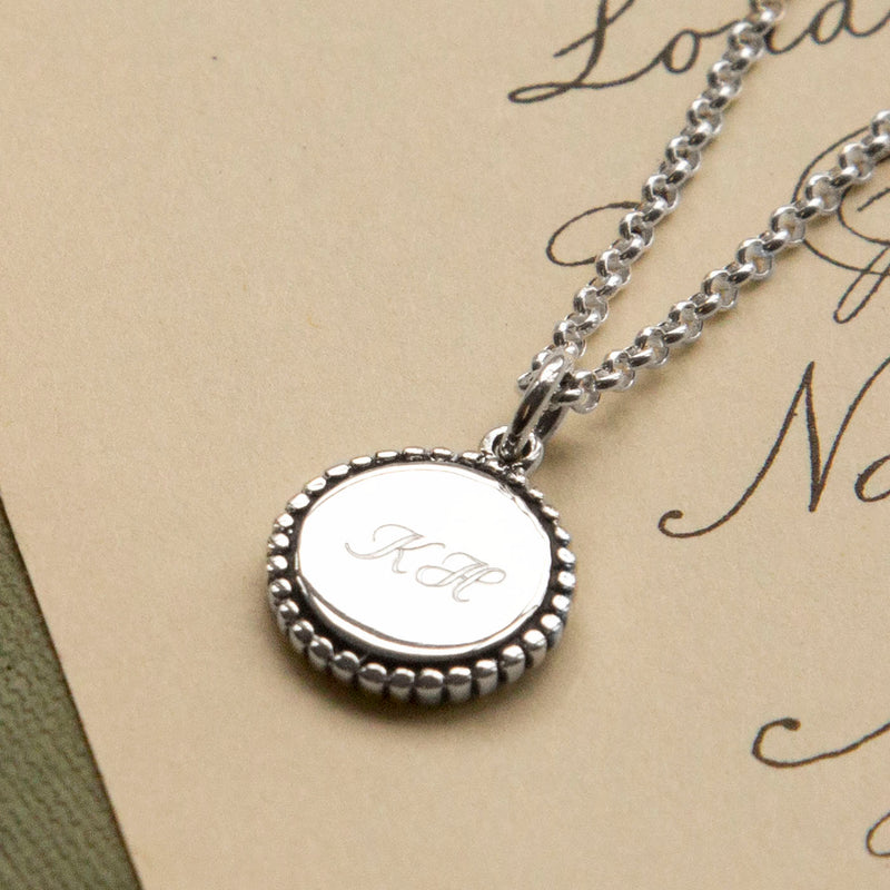 Personalized Sterling Silver Petite Round Pendant
