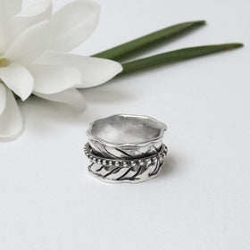 Sterling Silver Leaf Spinning Ring