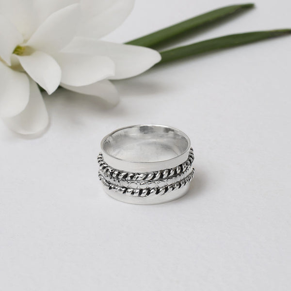 Sterling Silver Three Band Spinning Ring