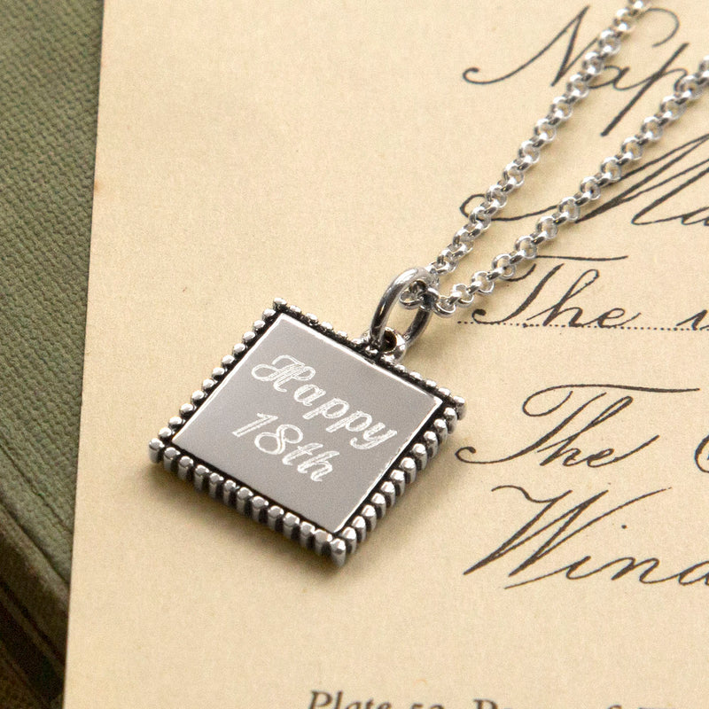 Personalized Sterling Silver Square Pendant
