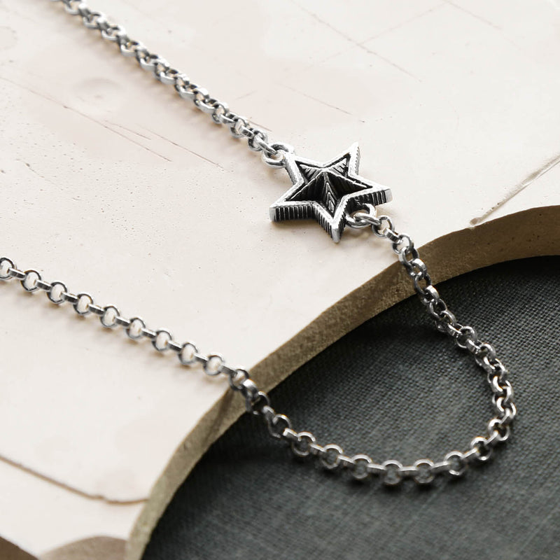 Sterling Silver Oxidised Single Star Necklace