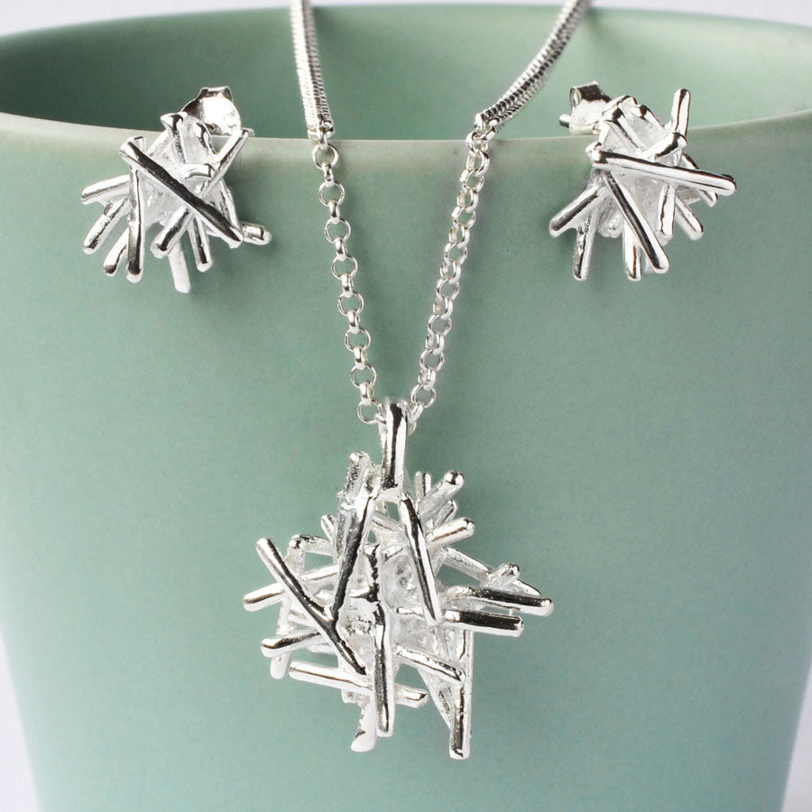 Silver Twig Stack Jewellery Set by Martha Jackson