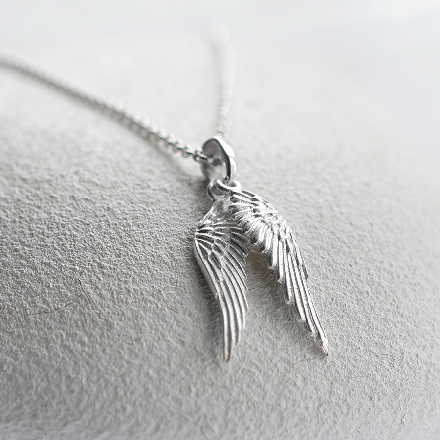 silver angel necklace sterling jewellery faith wing protection mantra