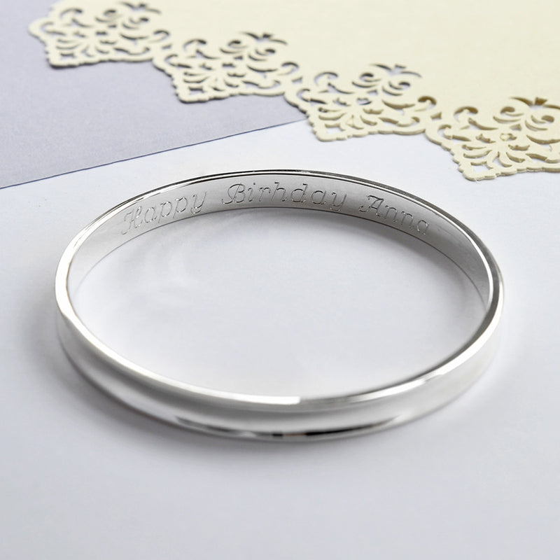 Solid Sterling Silver Concave Bangle