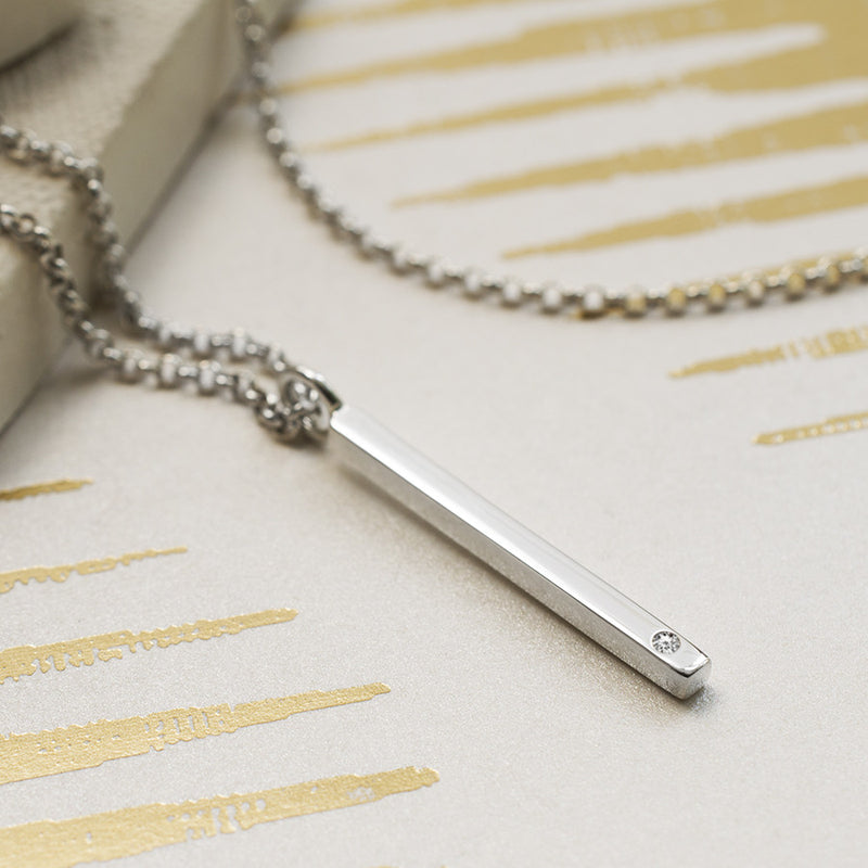 Sterling Silver and Diamond Bar Necklace