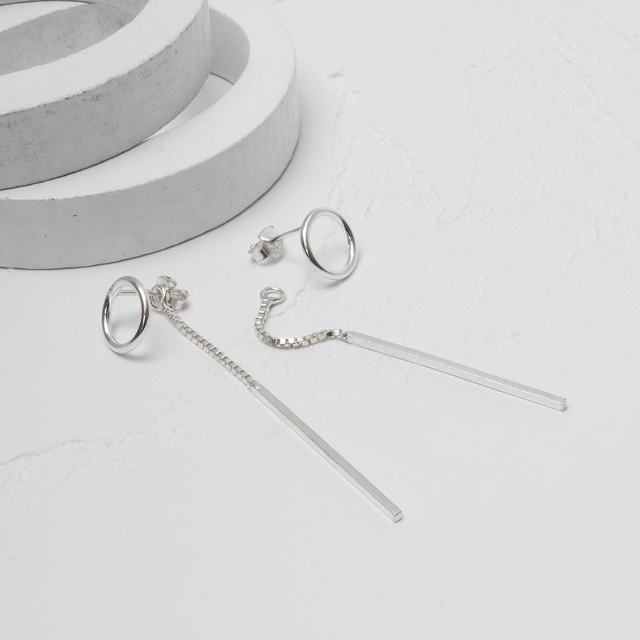 Sterling Silver Circle and Bar Two Way Ear Studs