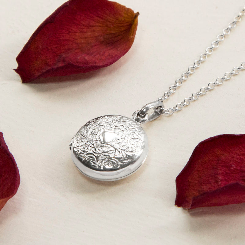 Engravable Sterling Silver Decorative Round Locket Necklace