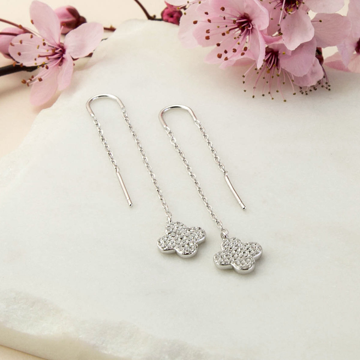 Sterling Silver Pavé Flower Threader Earrings