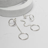 Sterling Silver Circles Two Way Stud Earrings
