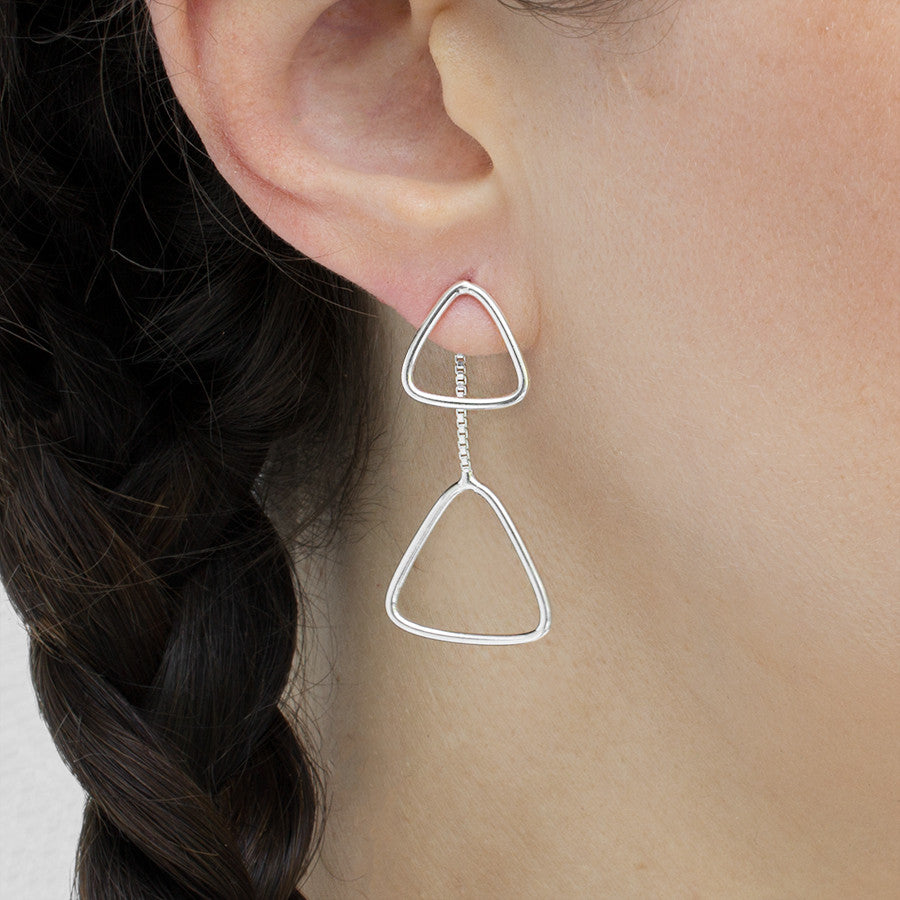 Sterling Silver Triangles Two Way Stud Earrings
