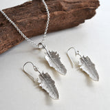 Sterling Silver Small Feather Drop Necklace