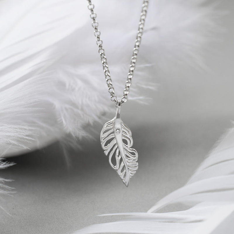 Sterling Silver and Diamond Feather Necklace